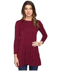 Mod O Doc Space Dye Rayon Spandex Jersey Keyhole Back Tunic Cranberry Heath Women's Clothing Red