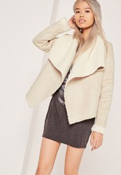 Missguided Faux Shearling Waterfall Jacket Nude Ivory