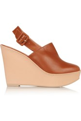Robert Clergerie French Leather Wedge Pumps Brown