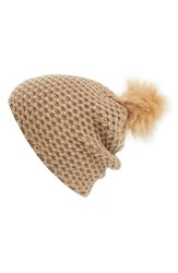 Women's Phase 3 Faux Fur Pompom Beanie Brown Tan Portabella