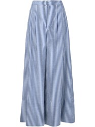 Adam By Adam Lippes Adam Lippes Striped Wide Leg Trousers Blue