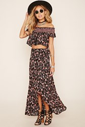 Forever 21 Wrap Front Floral Print Maxi Skirt