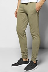 Boohoo Fit Jogger With Logo Musclefit Khaki