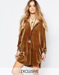 Reclaimed Vintage Velvet Shirt Dress Brown