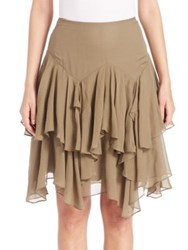 Polo Ralph Lauren Tiered Silk Blend Gauze Skirt Green