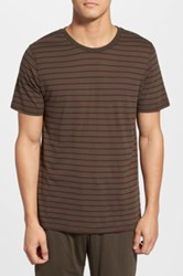 Daniel Buchler Short Sleeve Striped Tee Green