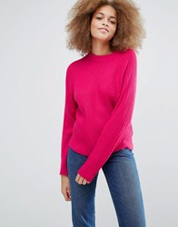 Monki Knitted Jumper With Rib Pink