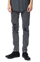 Topman Men's Acid Wash Ripped Stretch Skinny Jeans