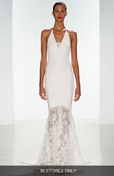 Women's Nouvelle Amsale 'Bree' Lace And Crepe Halter Gown In Stores Only
