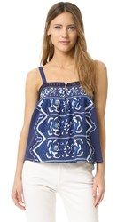Sea Embroidered Tank Blue