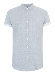 Topman White Printed Short Sleeve Casual Shirt