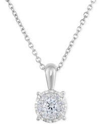 Trumiracle Diamond Halo Pendant Necklace 1 3 Ct. T.W. In 14K White Gold