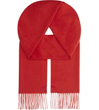 Johnstons Plain Cashmere Scarf Red