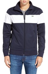 Men's Lacoste 'Sport Chest Stripe' Full Zip Track Jacket Navy Blue White