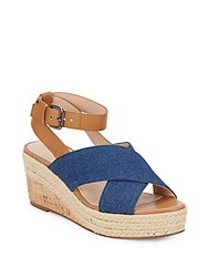 French Connection Elvia Leather And Denim Espadrille Wedge Sandals Light Indigo