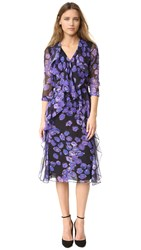 Jason Wu Floral Chiffon Long Sleeve Dress Black Iris