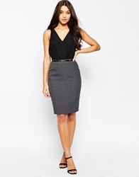 Asos Belted Pencil Skirt With Seam Detail Grey