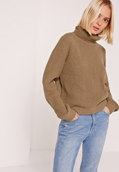 Missguided Roll Neck Crop Jumper Brown Taupe