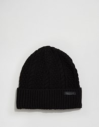 Scotch And Soda Chunky Knit Beanie Hat Black