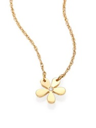 Jennifer Zeuner Jewelry Monaco Diamond Flower Pendant Necklace Rose Gold