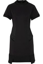 Jonathan Simkhai Mesh Paneled Cady Mini Dress Black