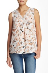 Pleione Printed Lace Tank Petite Pink