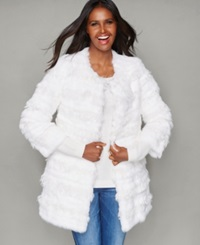 The Fur Vault Lamb Trim Rabbit Fur Jacket White