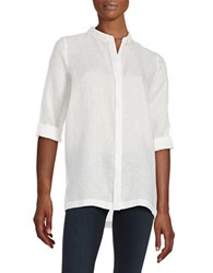 Elie Tahari Carly Button Front Linen Shirt White