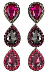 Suzanna Dai Women's 'Murano' Triple Drop Earrings Plum Fuchsia