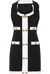 Moschino Embellished Two Tone Stretch Ponte Mini Dress Black