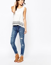 New Look Ripped Skinny Jeans Petrolblue