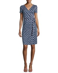 Diane Von Furstenberg Short Sleeve Polka Dot Wrap Dress Women's Dttd Btk Indigo