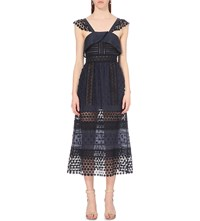 Self Portrait Bluebell Lace Midi Dress Navy Black Nude