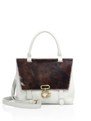 Derek Lam Mini Ave A Leather And Calf Hair Top Handle Satchel Brown White