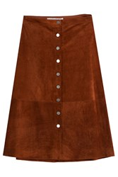 Diane Von Furstenberg Button Front Suede Skirt Brown