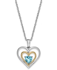 Macy's Aquamarine Heart Pendant Necklace In 14K Gold And Sterling Silver 1 3 Ct. T.W.