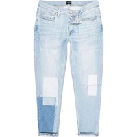 River Island Mens Light Blue Bleach Jimmy Slim Tapered Jeans