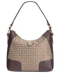 Tommy Hilfiger Elise Monogram Jacquard Hobo Tan Dark Chocolate