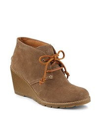 Sperry Stella Prow Suede Wedge Ankle Boots Taupe