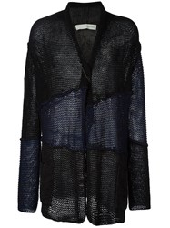 Isabel Benenato Panelled Open Front Cardigan Blue
