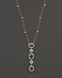 Bloomingdale's Emerald And Diamond Pendant Necklace In 14K Yellow Gold 16 Green Gold