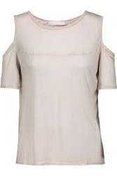 Kain Label Beverly Cutout Modal And Silk Blend T Shirt Taupe