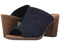 Toms Majorca Mule Sandal Navy Suede Perforated Women's Clog Mule Shoes