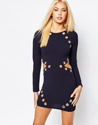 Missguided Eyelet Detail Bodycon Dress Navy