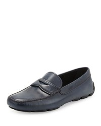 Prada Smooth Leather Penny Loafer Blue