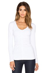 Susana Monaco Zip Gather Top White