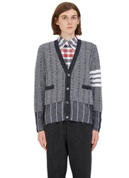 Thom Browne Oxford Waffled Knit Cardigan Navy