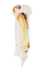 Prabal Gurung Printed Charmeuse T Shirt Dress White