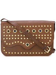 Yves Saint Laurent Vintage Studded Crossbody Bag Brown