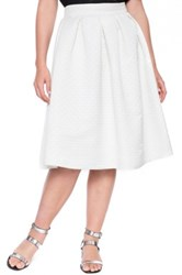 Eloquii Quilted Midi Skirt Plus Size White